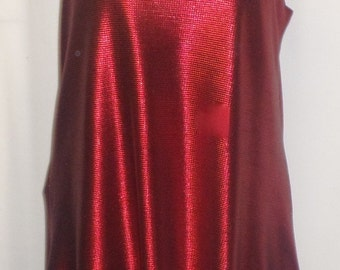 Plus Size Top, Coco and Juan, Lagenlook, Plus Size Tank, Red Shimmer Knit Angled Tunic Tank, Size 1 Fits 1X,2X Bust to 50 inches