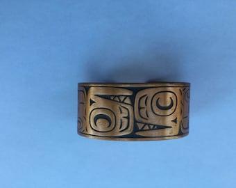 Vintage Modernist Copper Germstric Wide Cuff Bracelet