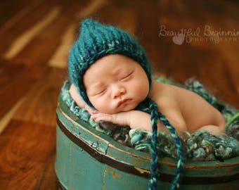 Teal Pixie Bonnet Boy Photo Prop Newborn Baby Girl Hand Knit Mohair Hat Going Home Cap Coming Outfit Knitted Shower Gift Infant Photography