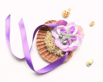 Purple Seashell Starfish Ring Bearer Pillow, Seashell Engagement Ring Holder, Nautical Beach Mermaid Wedding Party, Hawaiian Wedding, Pearls