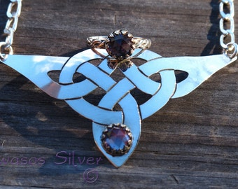 Hand Cut Sterling Silver Celtic Knot Necklace with color change Alexandrite jewelry set with matching ring