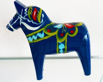 Vintage Swedish Dala Horse Nils Olsson Folk Art Wood Carving Hand Painted Hemslojd Blue Aqua