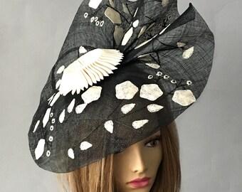 Abigail,  Kentucky Derby hat, Sinamay appliquéd  summer hat, straw hat, womens millinery hat, black and white