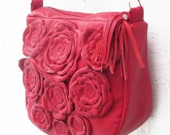 SALE red leather bag women messenger floral leather bag recycled leather bag flower shoulder bag rose leather bag boho leather bag  fashion