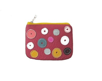 Womens  leather wallet coin pouch money bag, minimalist wallet polka dot wallet gem red leather wallet  gift for daughter, girl,for mothers