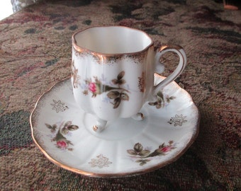 Lefton Hand Painted Teacup Saucer Set, 3 Footed, Octagonal, 8 Sided, Pattern 111, Signed, Rosebud, Demitasse, Ornate China Japan