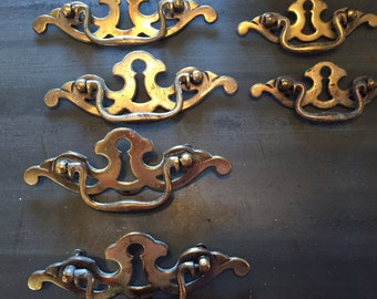 Vintage Furniture Pulls Set of 6 keyhole pulls