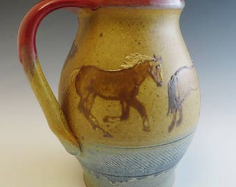Pitcher with 5 Running Quarter Horses