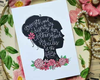 Proverbs 31, Handlettering, Hand drawn, She is clothed in strength and dignity, Inspiration, Motivational Quote, Bible Verse Art, scripture
