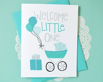 Welcome Little One, It's a Boy, Baby Shower Baby gift, Baby Boy, Illustration, Greeting Card, Blue Balloons, oh boy, baby carriage, stroller