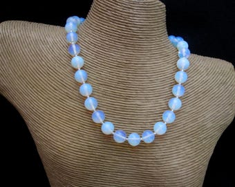Opalite Necklace, 12mm Opalite Round Beads, Sterling Silver Beads, Opalite Jewelry, Opalite Globe Necklace, Beaded Necklace, Pumpkin Beads