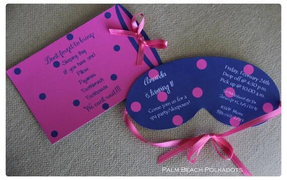 10 Spa Party or Sleepover birthday party invitations or Slumber party birthday invitations by Palm Beach Polkadots