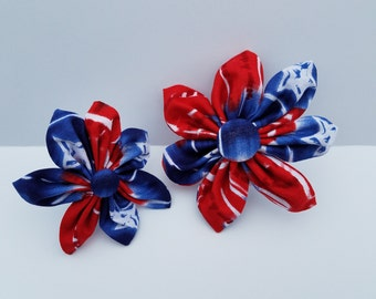 Red White and Blue Tye Dye Puppy Poppy Flower Dog Collar Accessory Patriotic 4th of July Memorial Day