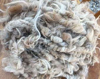 Art Yarn, Suri Alpaca, Handspun, 18 Yards, Natural Beige, Light Fawn