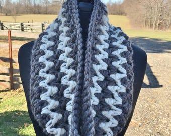 Cozy Cowl, Alpaca Wool Scarf, Bulky Infinity Scarf, Hand Crocheted, Zig Zag Pattern
