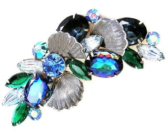 Beautiful Blue and Green Floral Brooch, Over 3 Inches
