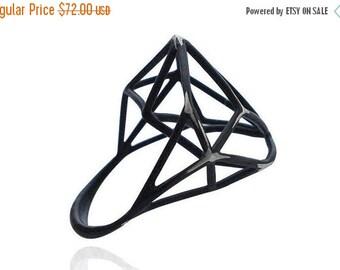 Valentines Sale Geometric Ring, Archi Jewelry, Geometric Sterling Silver Ring, Black Ring, Urban Geometric Black Ring, Geometric Ring, Free