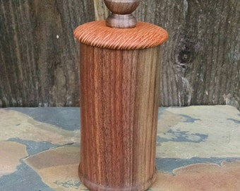 Small Wooden Box with Lid - Hand Turned Lidded Wood Box - Walnut and Lakewood Woods Wooden Box with Lid