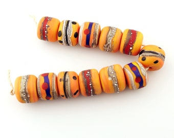Lampwork Glass Bead Set, SRA Tribal Matte Etched Rustic Primitive Organic Apricot, Silver 'Trade Relics'