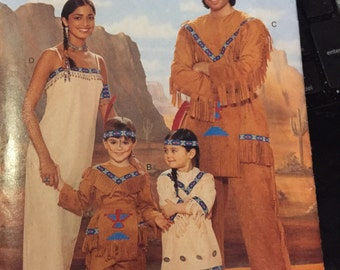 Indian fringed pullover top pattern & pants pattern Butterick BP209 COSTUME PATTERN xsmall children boys girls