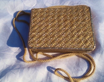 gold vintage bag, jane shilton bag, the rare gold box bag, small gold bag, gold evening bag, across body purse, small gold purse