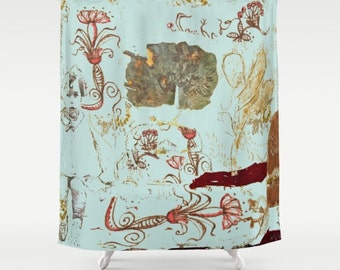Shower Curtain Art, home decor, from painting, bathroom decor, polyester curtain, colourful, Isabel nostalgic, spanish art