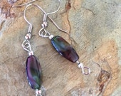 25%offHolidaySale Purple glass bead earring set (410)