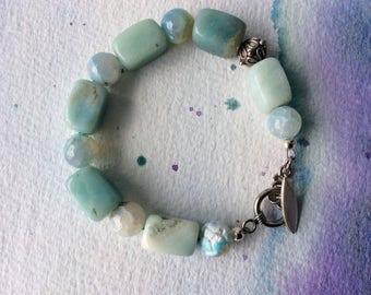 FREE SHIPPING Sterling Silver Blue Stone Amazonite Bracelet