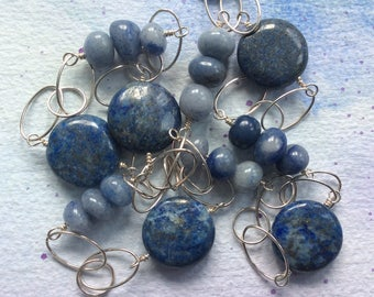 FREE SHIPPING Long Sterling Silver Wire Wrapped Blue Stone Lapis Necklace