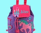 Personalized Child's Stephen Joseph Quilted UNICORN Backpack  Purple-Monogramming Is Included