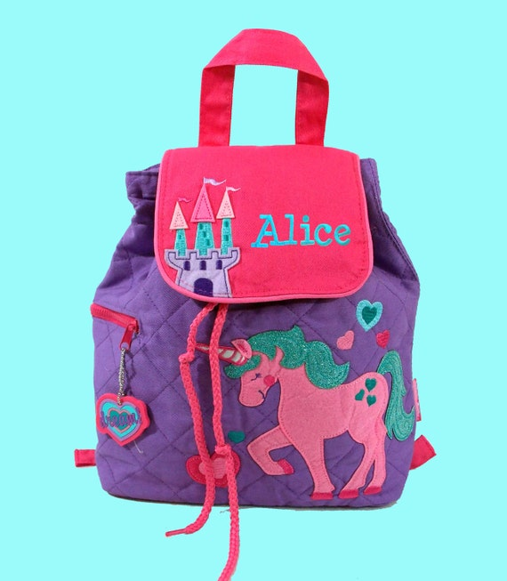 Personalized Child's Stephen Joseph Quilted Toddler UNICORN Backpack  Purple-Monogramming Is Included