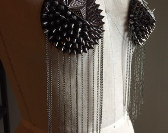 Over Pasties Black Backing with Metal Studs and Chains