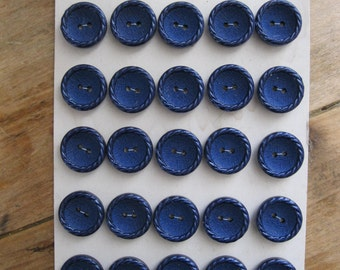 25 french vintage  buttons on original card , approx. 1960/1970, navy blue.