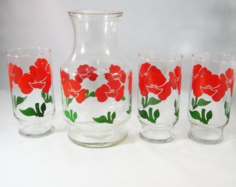 Anchor Hocking Drink Pitcher and Glasses, Red Poppy Pattern