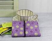 Tea wallet - Travel tea bag case - purple dot - wallet for teabags - 4 pockets - tea caddie