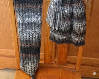 Winter Scarf & Hat Set~Knitted~Black Brown Grey White~Tassel~Warm