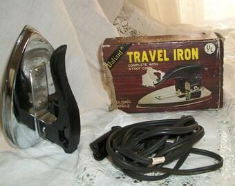 1960s 1970s Vintage Valiant Traveling Iron Folding Orig Box Works Perfectly