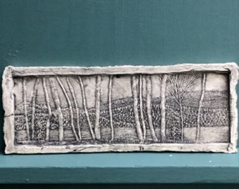 Birch Tree Forest Ceramic Pottery Porcelain Relief Tile