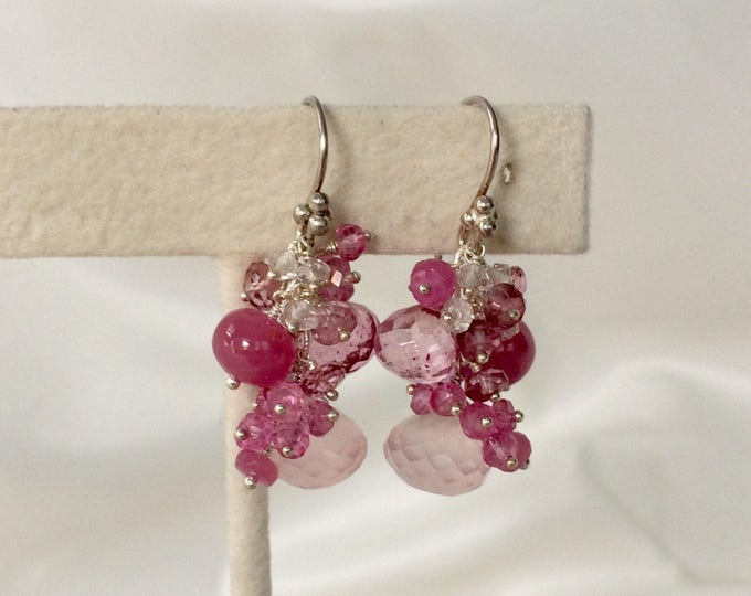 Gemstone Earrings in Sterling Silver with Rose Quartz, Raspberry Pink Sapphire, Mystic Pink Quartz, Mystic Pink Topaz - Pink Gemstones
