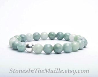 Burma Jade with Sterling Silver Beaded Stretch Bracelet, Burma Jade Bracelet, Stacking Bracelet, Green Jade Mala, Jade Meditation Bracelet