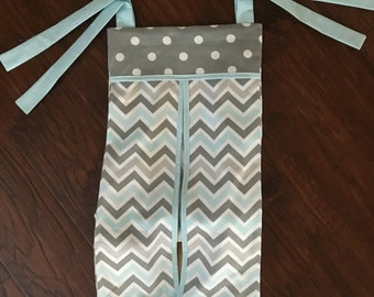 baby Diaper stacker holder crib aqua grey chevron