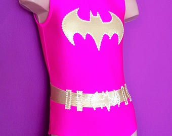 BATGIRL Inspired Toddlers Girls Leotard.  Batgirl Gymnastics Leotard. Dancewear. Batgirl Performance Leotard. Size 2T through Girls 12