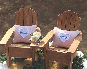 "Rustic Barn Wedding Topper Fits 5"" & 6"" Cake Top! Adirondack Chairs/Pillows Personalized Your Colors Handmade To Order"