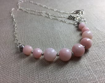 Pink Opal Necklace in Sterling Silver
