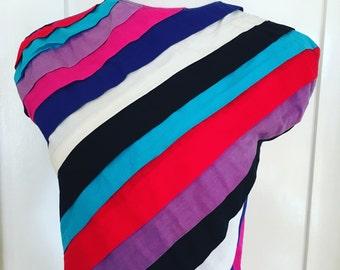 Vintage MAHUDI Miami Colorful Diagonal Striped Sleeveless Button Back Crop Top
