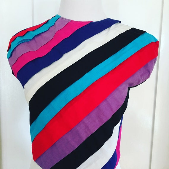 Vintage MAHUDI Miami Colorful Diagonal Striped Sleeveless Button Back Crop Top
