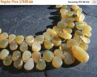 HUGE SALE Beautiful natural Yellow Opal, smooth pear briolettes, full 6 inch strand, 7mm - 19mm (w34)