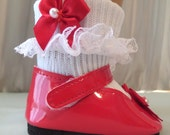 Custom Order for Janet Welt / 5 Pair of Doll Socks / with Red, White and Pink Bows and Pearl Beads - 500