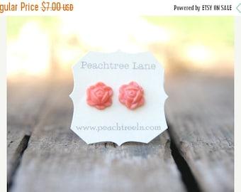 CYBER MONDAY SALE Sale Coral Pink Rose Flower Earrings // Bridesmaid Earrings // Bridesmaid Gifts // Rustic Vintage Wedding