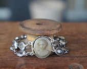 Antique Assemblage Necklace with 19th Century Lava Cameo Clasp and Rock Crystal Chain